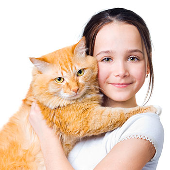 a young girl and her cat